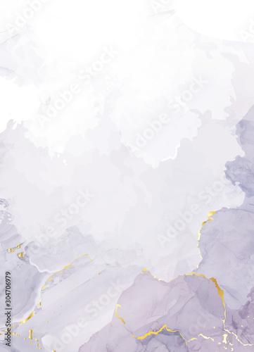 Fotografia, Obraz Mauve purple watercolor fluid painting vector design card.