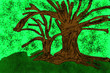 canvas print picture - Painting of a big tree with leaves and grass