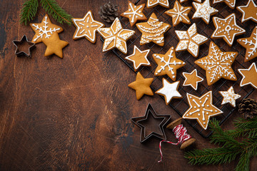 Christmas gingerbread cookies on old wooden table