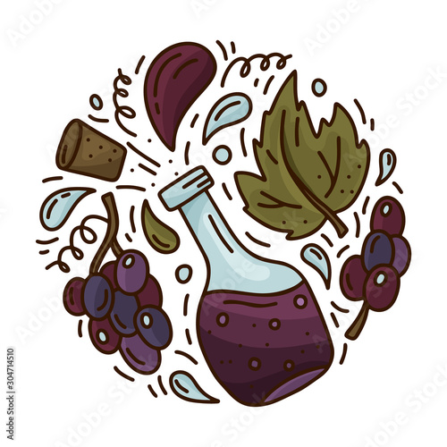 Cartoon bottle with isolated black grapes. Round doodle template of red wine or balsamic vinegar. Hand drawn vector concept. Color illustration for emblem, sticker, poster, banner Fototapete