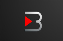 Triangle Red Grey Letter B Alp...