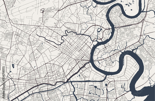 Photo map of the city of Ho Chi Minh City, Vietnam