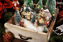 Vintage Drawer With A Winter Christmas Scene Inside