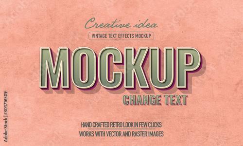 Fototapeta Retro Text Effect Mockup Full Editable obraz na płótnie