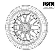 Car Wheel Wire Model | EPS10 Vector