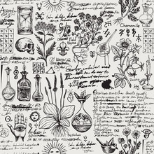 Vector Seamless Pattern On The Theme Of Medicine And Herbal Treatment In Retro Style. Repeatable Background With Hand-drawn Sketches, Unreadable Notes, Various Herbs And Old Medical Symbols, Blots.