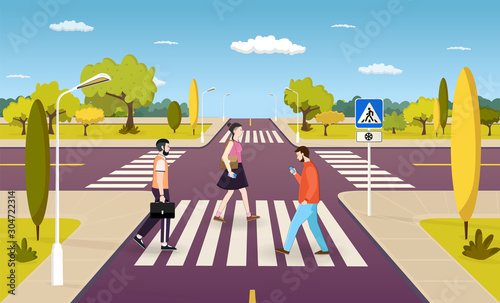 People walking on crosswalk, pedestrians crossing road at intersection Poster Mural XXL