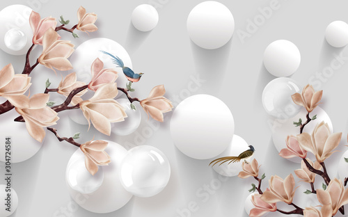 Fototapety 3d   3d-wallpaper-design-with-florals-for-photomural-background