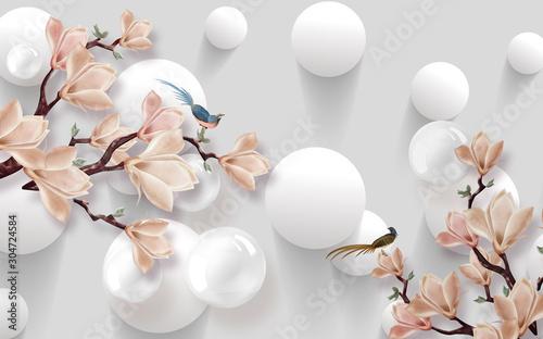 Fototapety 3d   projekt-tapety-3d-z-motywami-kwiatowymi-na-fotomuralnym-tle