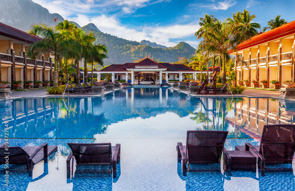 Fototapeta Luxury Tropical Resort by Morning Light