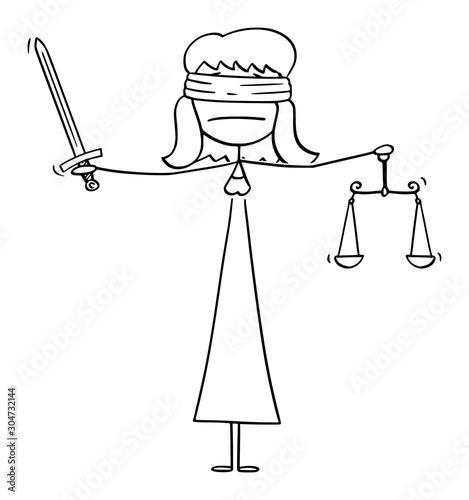 Vector cartoon stick figure drawing conceptual illustration of madam or lady justice blindfolded woman holding sword and balance scales Canvas-taulu