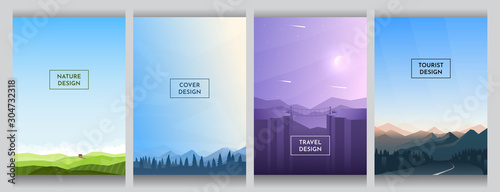 Obraz Meadow with alone house, blue alps near trees, violet canyon and hills, mountain and road. Flat abstract background. Cover design. Template layout. Blue sky wallpaper. Gradient minimalist posters - fototapety do salonu
