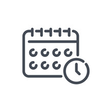Calendar With Clock Reminder Line Icon. Schedule With Time Vector Outline Sign.