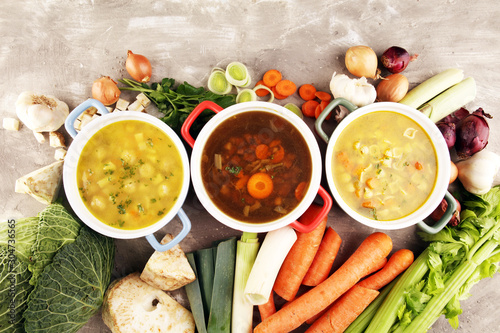 Set of soups from worldwide cuisines, healthy food Fototapet