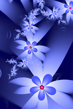 Blue Abstract Fractal Flowers ...