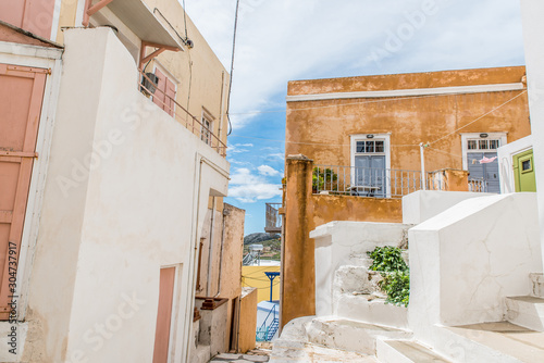 Fotografie, Obraz Traditional alley at Ano Syros, Cyclades, Greece