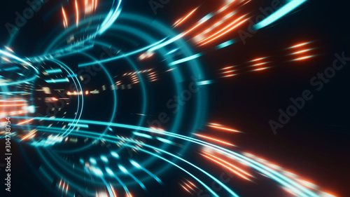 Pinturas sobre lienzo  3D Rendering of abstract fast moving stripe lines with glowing light flare