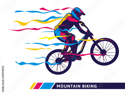 Fotografia Downhill mountain bike motion colorful artwork cyclist motion modern illustratio
