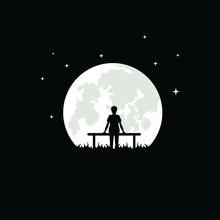 Moon Negative Space Logo Vecto...