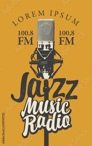 Vector banner for radio station with studio microphone and inscription Jazz music radio Tapéta, Fotótapéta