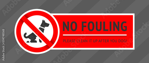 Fotografía  No dog fouling sign, modern sticker for print