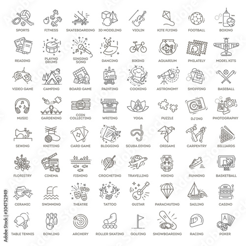 Hobbies and interest detailed line icons set in modern line icon style for ui, u Wallpaper Mural
