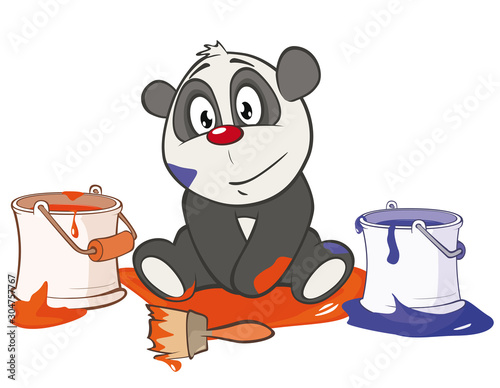 Vector Illustration of a Cute Panda. Cartoon Character