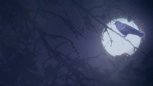 Fantasy Crow Perched In Tree On Spooky Moonlight Night