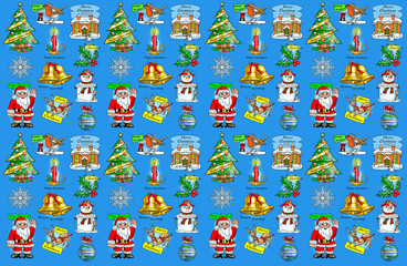 Christmas symbols: robin, christmas tree, cottage, bells, snowflake, bauble, snowman, stocking, santa, reindeer, holly, candle.