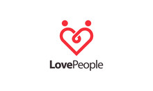 Combination Logo From Heart And People Symbol Logo Design Concept