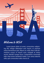 Usa Brochure In Typography National Flag Color Design,statue Of Liberty And Golden Gate Bridge,advertising Artwork,vector Illustration