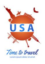 Famous Landmark Of Usa  On Globe Brochure Design In National Flag Color Design Theme,time To Travel,vector Illustration