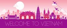 Vietnam Famous Landmark Pink Silhouette Design,vector Illustration