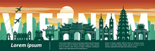 Vietnam Top Famous Landmark Silhouette Style,text Within,travel And Tourism,vector Illustration