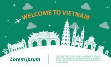 Famous Landmark Of Vietnam,travel Destination,silhouette Design With White  And Dark Blue Color,vector Illustration