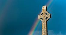 Rainbow Over Ancient Irish Cemetery Celtic Cross