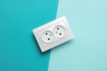 Double Power Socket On A Blue ...
