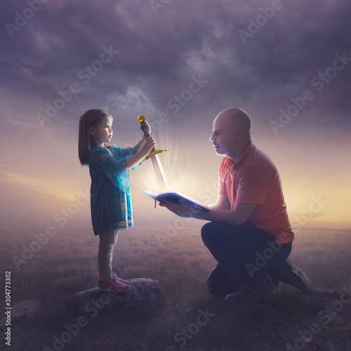 Father and daughter with sword Wallpaper Mural