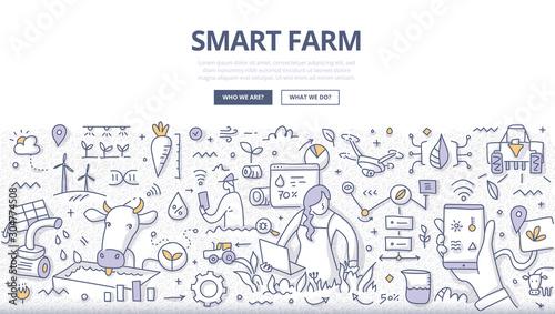 Fototapeta Smart Farm Doodle Concept obraz