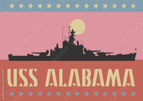 USS Alabama battleship in Mobile Bay Fotobehang