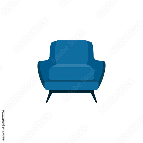 Flat cartoon blue armchair isolated on white background Canvas Print