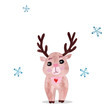 Watercolor christmas illustration with holiday deer