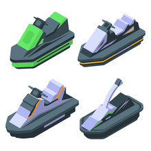 Jet Ski Icons Set. Isometric S...