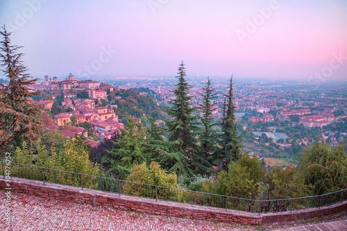 Foto op Plexiglas Purper Bergamo old town evening panorama, Citta Alta, Italy.