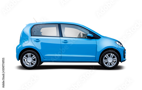 Fotografie, Obraz  Small hatchback city car side view isolated on white