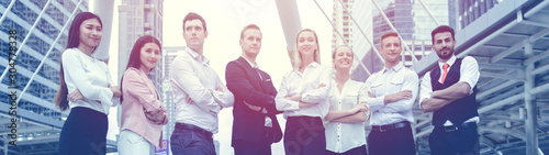 Photo Group of Business people team work mix race standing confidence arm crossed wide for banner background