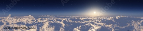 The sun over the clouds, panorama of the clouds, flight over the clouds - 304778391
