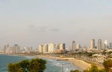 Skyline Of Tel Aviv With Beachfront