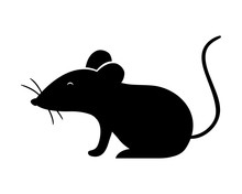Isolated Mouse Silhouette Vect...