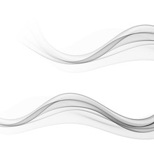 Set Of Stylish Abstract Gray Waves On White Background Vector Eps10